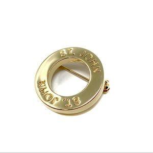 St. John Jewelry - St. John Gold Circle Logo Designer Brooch